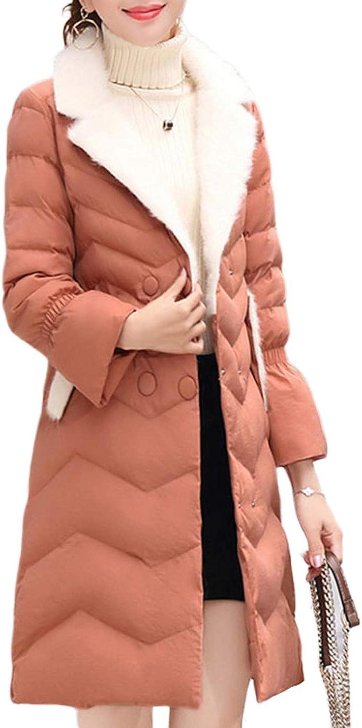 Uaneo Women's Mid Long Slim Fur Lapel Collar Quilted Puffey Jacket Winter Coat(Pink-S)