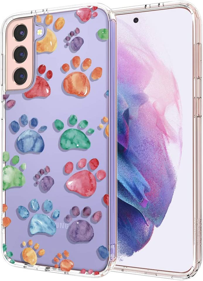 for Samsung S21 Case, for Samsung Galaxy S21 5G Case, MOSNOVO Crystal Clear Slim Soft TPU + PC Cover Case with Cute Dog Paw Design Phone Case for Galaxy S21