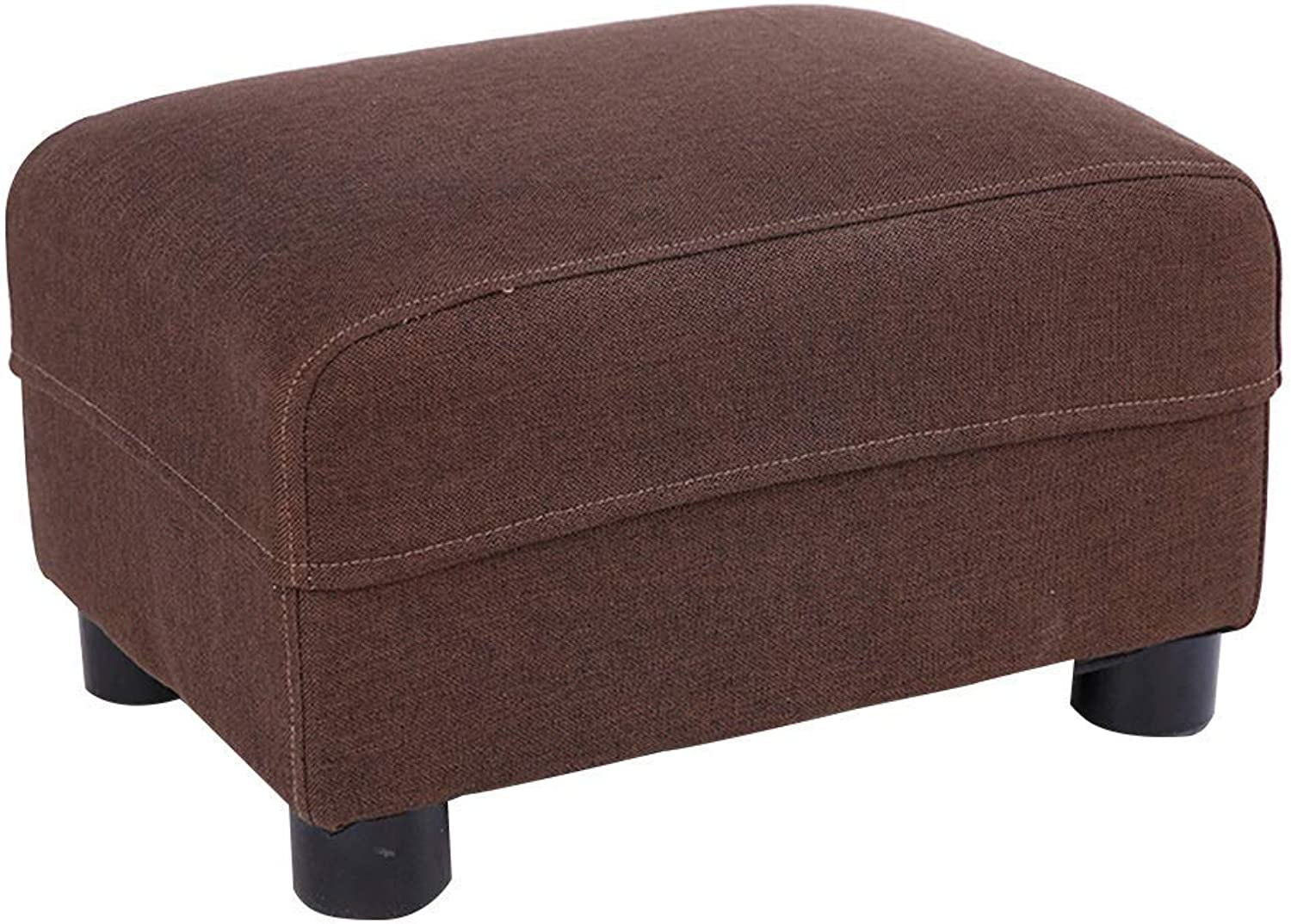 ChenDz Cute Stool Change shoes Stool Sofa Stool Retro Fabric wear shoes Stool Solid Wood feet Nordic Stool Dressing Bed Tail Bench Detachable Linen Living Room Corridor Brown