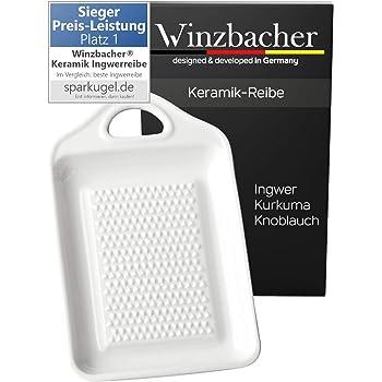 Winzbacher® DAS ORIGINAL - Keramik Ingwerreibe   ideal für Ingwer, Kurkuma und Knoblauch   Verbessertes Konzept 2020   Spülmaschinenfest   Optimal für die Zubereitung von Ingwertee