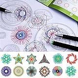 ODOMY Juego de Spirograph Deluxe con Espirógrafo Regla geométrica para diseño de Espiral 27 Piezas