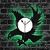 zgfeng Disco de Vinilo del Reloj de Pared del diseño de la Vendimia Duro Trabajo Aves Impresionantes para la decoración del Dormitorio de Eagle with led Light-with_LED_Light