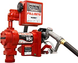 Fill-Rite FR1211G 12V 15 GPM (57 LPM) Fuel Transfer Pump with Discharge Hose, Manual Nozzle, Suction Pipe, Mechanical Gallon Meter