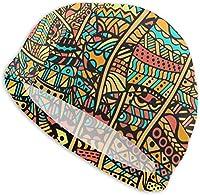 水泳帽 女性/男性用スイムキャップ、防水ヘアスイムキャップスペシャルプリント大人快適フィットスイムキャップ芸術的エスニックフローラルレトロ落書き用