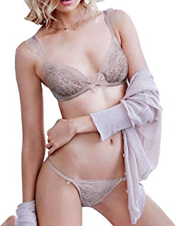 429e70a109233 Victorias Secrets Womens Dream Angels Jewel Unlined Plunge Demi Bra  V-String Thong Set 36