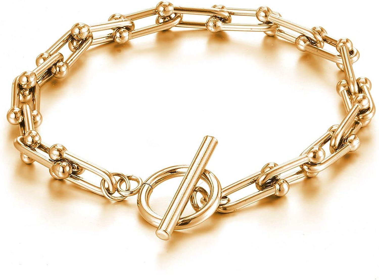 ivyAnan Jewellery Chain Necklace Link U Shape Stick Gold Stainless Steel for Women (Bracelet)