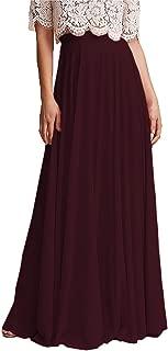 Omelas Women's Long Floor Length High Waist Skirt Maxi Bridesmaid Party Dress