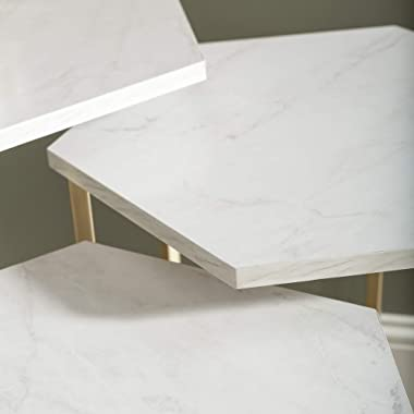 Walker Edison Modern Hexagon Nesting Side End Table Set Living Room Storage Small End Table, Set Of 3, Marble and Gold