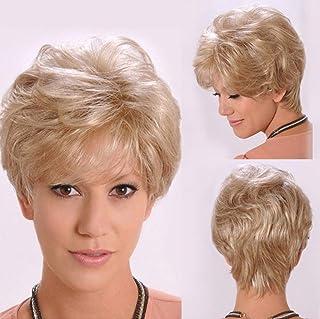 女性ブラジルスタイリッシュで新しい短い軽いウェーブのかかった髪のかつら耐熱ブロンド24 cm