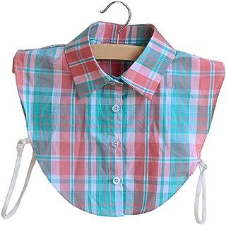 (ビグッド)Bigood チェック柄 つけ襟 付け襟 シャツ インナー フェイク襟 ブラウス 偽襟 角襟 カジュアル 重ね着 コーディネート(ピンクとブルー)