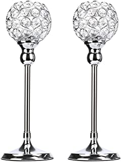Anferstore Silver Crystal Candle Holders, Modern Romantic Wedding Candle Holders for Dining Table Decorations,Valentine's Day,House Gifts,Set of 2