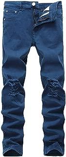 Black Jeans Skinny Ripped Stretch Slim Fashion Hip Hop Swag Man Casual Denim Biker Holes Jeans Pants,Blue,42