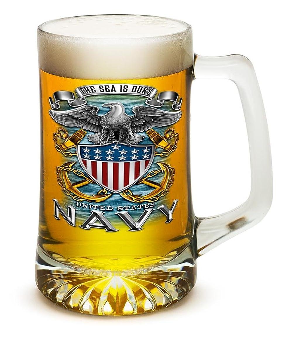 極めてページがっかりした(Set of 2) - 740mls Tankard NAVY Full Print Eagle, Set of Beer Mugs with Handles - US Navy 740ml Tankard Beer Mug - Full Print Eagle Beer Glass with Logo (740mls)