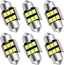 "AUXLIGHT 6614 6641 6612F 6615 F30-WHP TS-14V1CP 29MM 1.14""Festoon LED Interior Light Bulbs 6000K Xenon White, Super Bright 6SMD Chips for Car SUV Truck Sunvisor Vanity Mirror Lights (Pack of 6)"