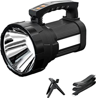 Rechargeable Spotlight, Super Bright 6000Lumen Handheld Flashlight with Foldable Tripod, 10000mAh Spot Light with USB Powe...