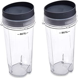 joymixman Replacement Parts for Nutri Ninja Blender, Two Pack 16-Ounce (16 oz.) Single Serve Cup Fit for Ultima & Professional Nutri Ninja Series BL770 BL780 BL660 All Pro 4 Tab Blenders