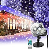 Christmas Holiday Light Projector,Snowfall Projector Lights with Remote Control,Rotating Snow Falling Lights,Indoor Outdoor Waterproof Landscape Decorative Lighting for Halloween Wedding Party Garden