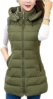 Womens Casual Zipper Long Hooded Down Vest Sleeveless Coat