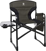 EVER ADVANCED Full Back Aluminum Folding Directors Chair with Side Table and Storage Pouch Heavy Duty 350LBS