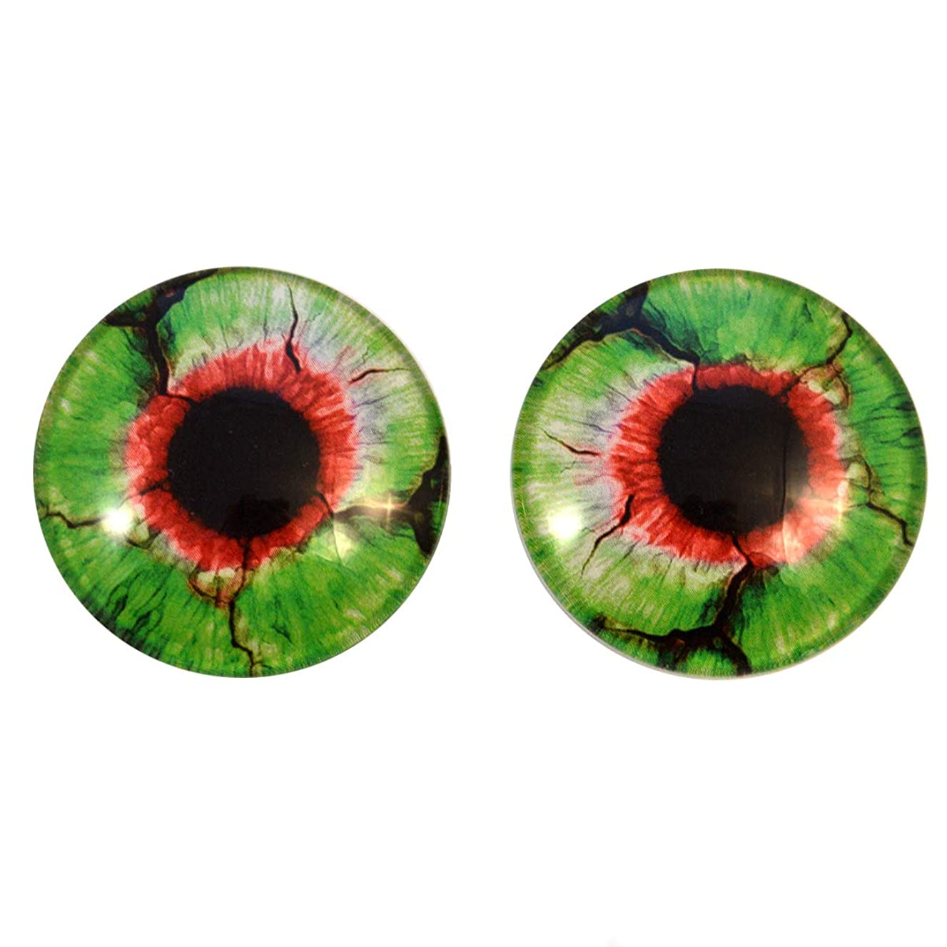 Green and Red Spooky Zombie Glass Eyes Horror Art Dolls Taxidermy Sculptures or Jewelry Making Cabochons Crafts Matching Set of 2 (40mm)