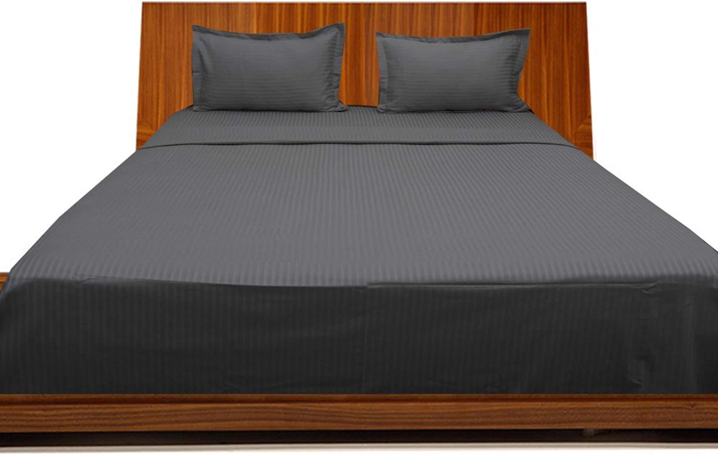 Dreamz Bedding Italien Finition, de 350Thread Count Coton égypcravaten Bed Sheet Set 66cm Ultra Profonde Pocket Euro Extra petit Single, éléphant gris gris foncé Stripe, 350tc Parure de lit 100% Coton
