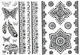 Mandala - Juego de 2 tatuajes con diseño de elefante, mariposa, pluma, mandala, pulseras, joyas, tatuaje oriental HC08023, para cuerpo y mano