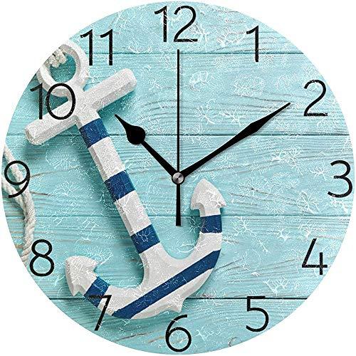 Cy-ril Ancre sur Horloge Murale en Bois Bleue Horloge Murale Ronde silencieuse fonctionnant sur Batterie Non Ticking Horloge décorative créative