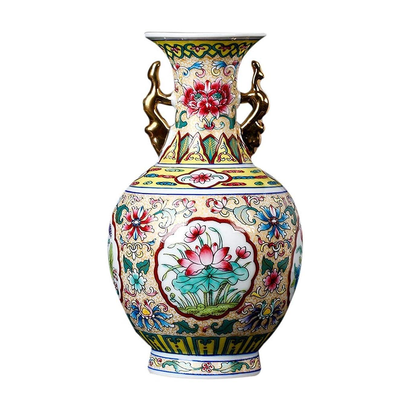 ラショナルベスト深める花器 装飾芸術ホーム世帯ウェディングリビングルームベッドルームオフィス表イエロー13×24 CMのクラシック花瓶セラミッククリエイティブハイグレード 花瓶