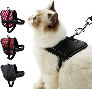 TOLEAP Cat Harness with Leash Set Adjustable Soft Mesh Harness StrapEscape Proof Cat Vest Harness with Reflective Strap for Outdoor Walking