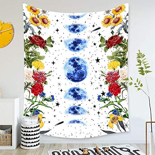 WERT Tapiz Estrellado de Luna psicodélica para Colgar en la Pared, Alfombra de Cielo, Tapiz de Dormitorio, Accesorios de decoración de Mariposas A9 150x130cm