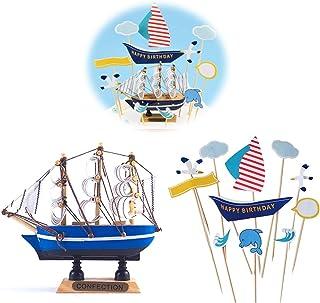 Jixista Cake Decorazioni Cake Topper Compleanno Decorazione per Torte Ornamento Bianco della Vela della Nave Blu e Bandier...