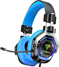 $33 » BENGOO Gaming Headset for PS4, Xbox One, PC,【4 Speaker Drivers】 Over Ear Headphones with 45° Adjustable Earmuff, 720° Noise Canceling Microphone, Soft Memory Earmuffs for Xbox 360 Accessory (Blue)