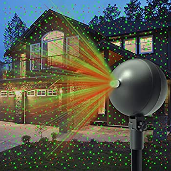 Auxiwa Christmas Laser Lights Projector Outdoor Lazer Projection Light Waterproof Projectors Led Landscape Spotlight Xmas Show Display for Holiday Decorations  Green and Red