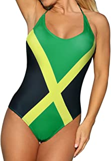 Women's Fashion One Piece Caribbean Jamaica Flag Rasta Sport Monokini Swimsuit Swimwear