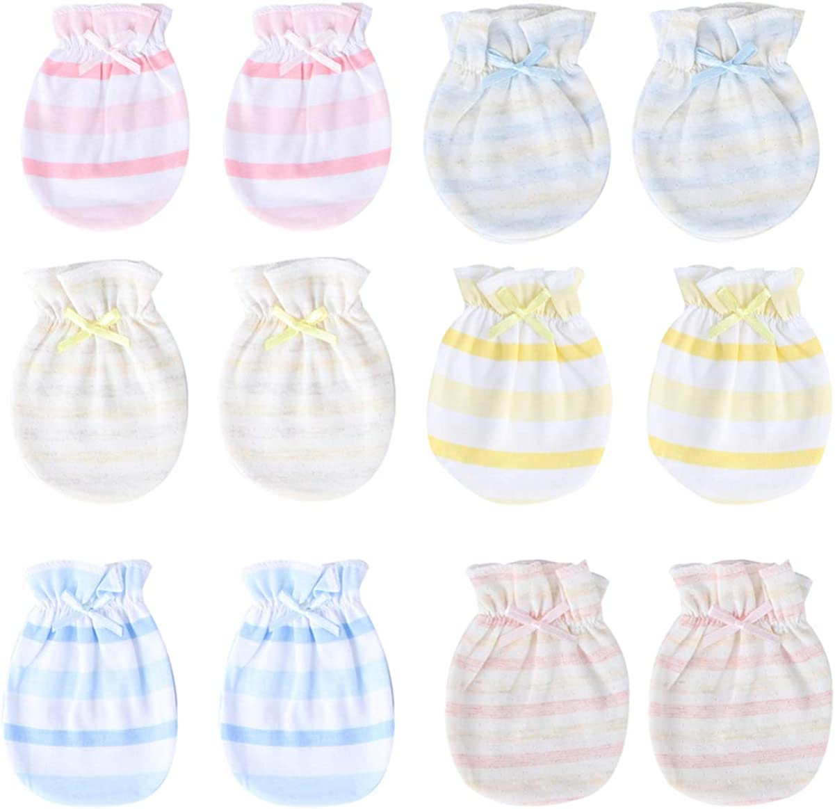 KESYOO 6 Pair Baby Mittens Cotton Anti-scratch Gloves No Scratch Mittens for Newborn Infant Baby Toddlers