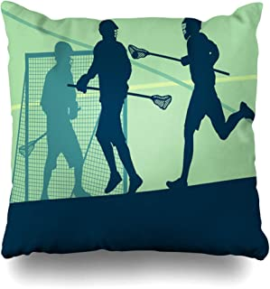 Ahawoso Throw Pillow Cover Caucasian Action Lacrosse Player in Protective Gear Teamwork Person Sport Adult Athlete Athletic Ball Home Decor Pillowcase Square Size 16