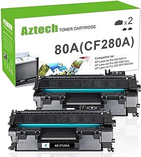 Aztech Compatible Toner Cartridge Replacement for HP Laserjet 80A CF280A 80X CF280X Laserjet Pro 400 M401A M401D M401N M401DNE MFP M425DN (Black, 2-Pack)