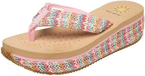 Summer Ladies Flip Flops, Antideslizante zapatos de Playa, Muffin con Sandalias y Hauszapatos