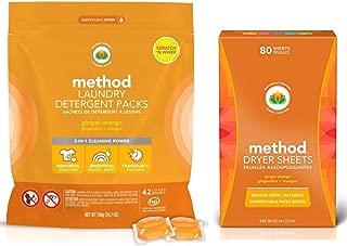 Method Laundry Detergent Bundle Ginger Mango 1 42 Loads Detergent Packs and 80 Dryer Sheets