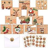 Tarjetas de Navidad, 24 Piezas Navidad Tarjeta de Felicitación, Tarjetas de Navidad con Sobres, Tarjetas Navidad Pack 24 Pegatinas Navideñas,Tarjetas de Felicitación en Blanco para Saludos Familiares