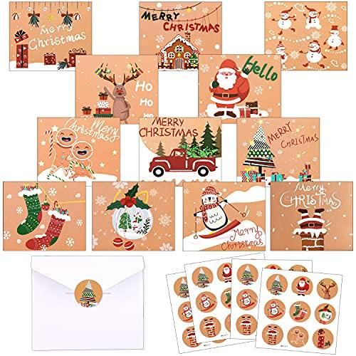 Carte de Voeux Noel, 24 Pièces Cartes Vœux pour Noël, Noël Cartes de Vœux et Enveloppes, Cartes de Noel Pliantes avec 24 Enveloppes et 36 Autocollants, Motif de Noël, Cadeaux Artisanaux de Noël