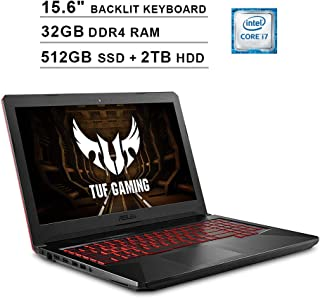 Asus 2019 FX504 15.6 Inch FHD TUF Gaming Laptop (Intel 6-Core i7-8750H up to 4.1 GHz, 32GB RAM, 512GB SSD + 2TB HDD, GeForce GTX 1050 Ti, Backlit Keyboard, WiFi, Bluetooth, HDMI, Windows 10)