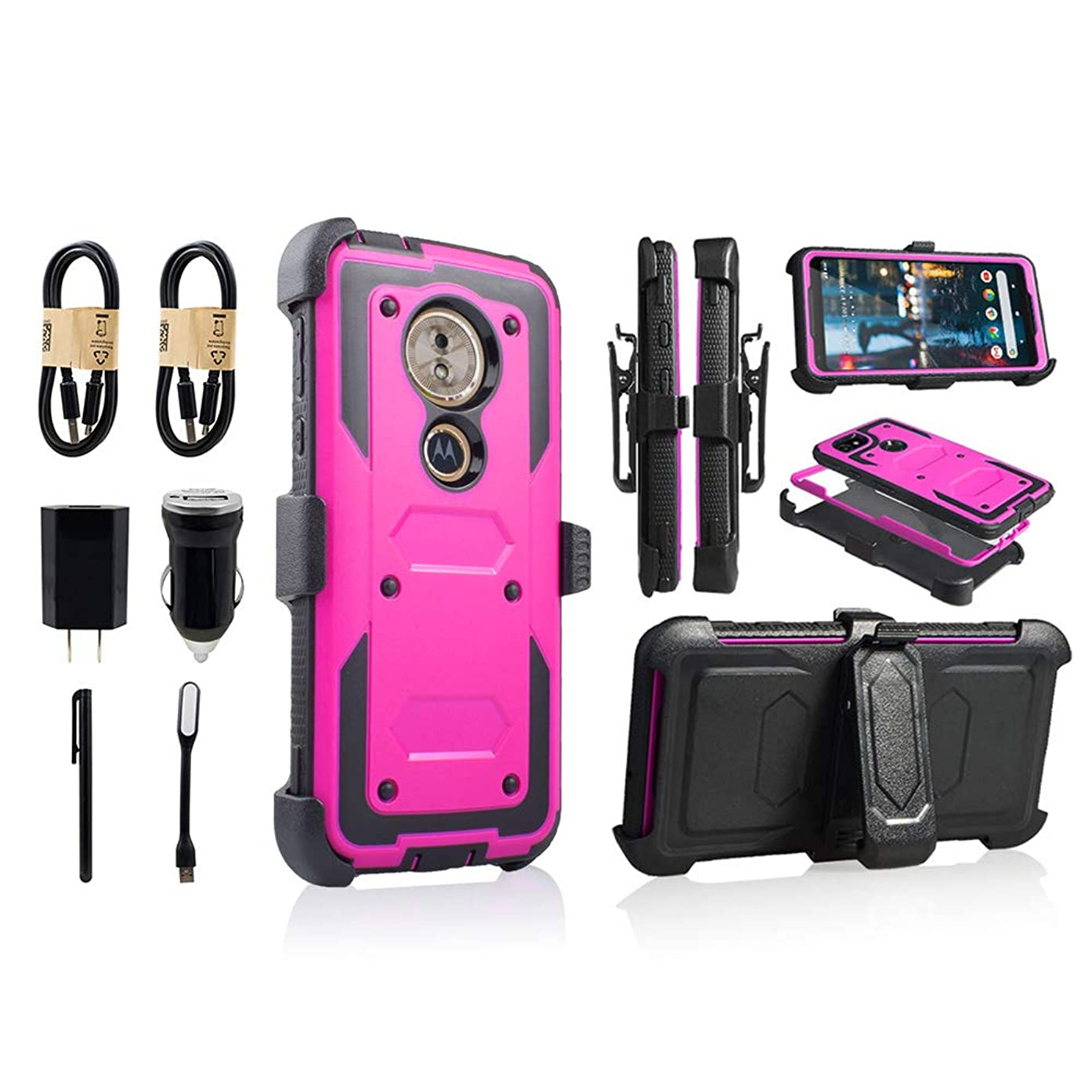 Motorola Moto G6 Play Case 2018, Moto G6 Forge Case, Heavy Duty Armor Shockproof Protection Case Cover with Belt Swivel Clip Kickstand [Value Bundle] (Purple)