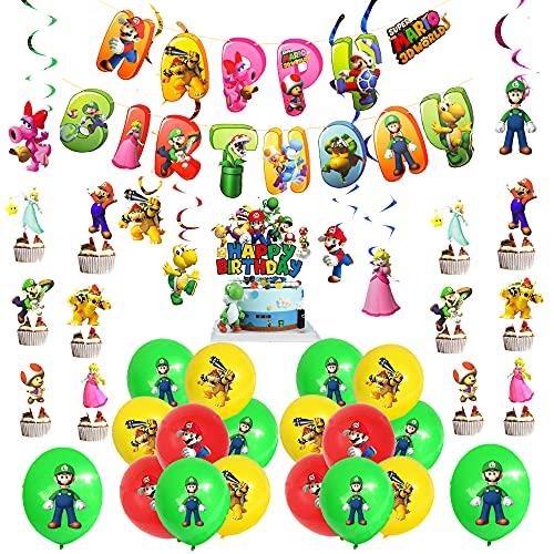 Decoracion Cumpleaños Super Mario Globos Mario Bros Pancarta Super Mario Remolinos Colgantes de Decoración Super Mario Decoración Tarta Para Fiestas de Super Mario