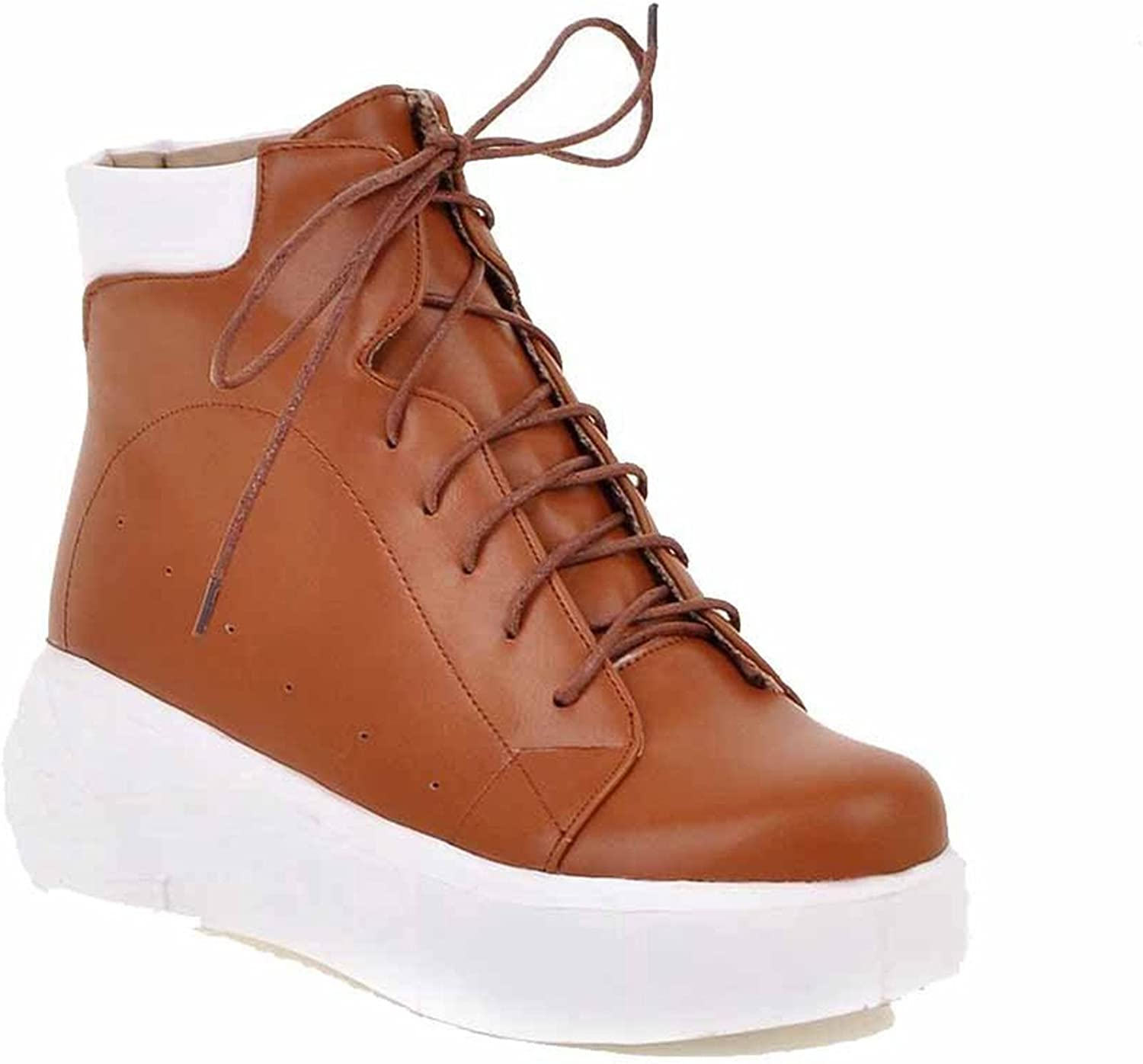 Zalezing Comfortable Women's Lace Up Round Closed Toe Kitten Heels Pu Low Top Boots