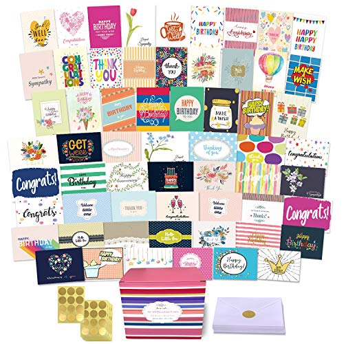 60 All Occasion Greeting Cards Assortment, Large Unique Assorted Cards with Greeting Inside. Birthday Cards, Thank You, Sympathy, Baby, Wedding and More. Card Organizer with Envelopes - 5 X 7 Inch