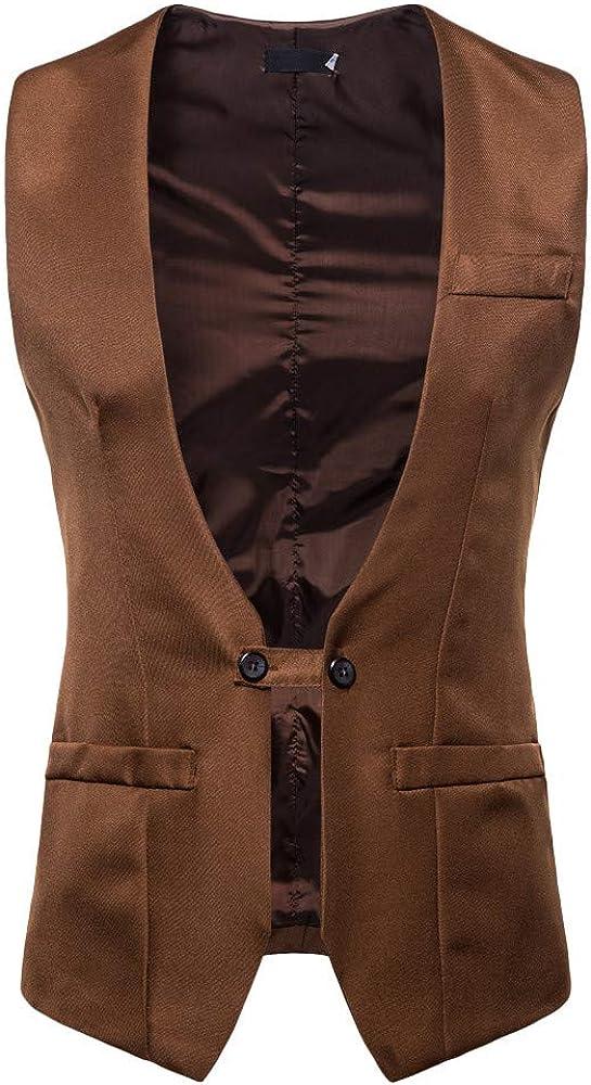 MODOQO Men's Casual Suit Vest Single Button Up Business Dress Shirt Waistcoat
