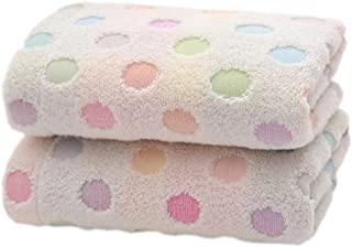 Pidada 100% Cotton Hand Towels Polka Dot Pattern Super Soft Highly Absorbent Towel for Bathroom 13 x 30 Inch Set of 2 (Beige)