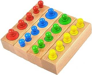 GEDIAO Montessori Materials Cylinder Blocks Wooden Socket Montessori Toys Colorful Education Toys Kid Baby Birthday Gift
