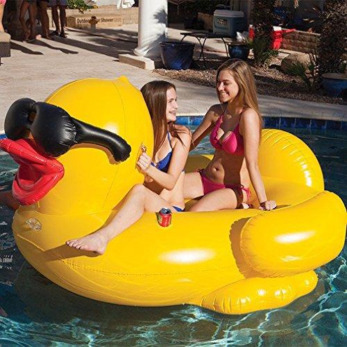 TGDY POO Float Aufblasbare, Große Gelbe Ente Riesen Einhorn Pool Float, TG Schlauchboot Floß Sommer Pool Liegen Strand Floats und Liegestühle Für Erwachsene und Kinder, 74X 61X37in
